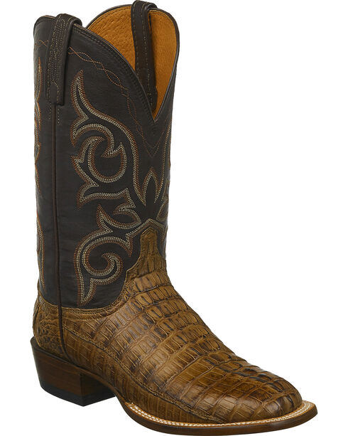 Lucchese Men's Caiman Western Boots - Square Toe , Brown, hi-res