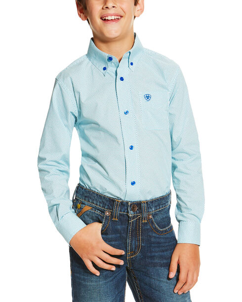 Ariat Boys' Blue Irondale Long Sleeve Print Button Down Shirt , Blue, hi-res