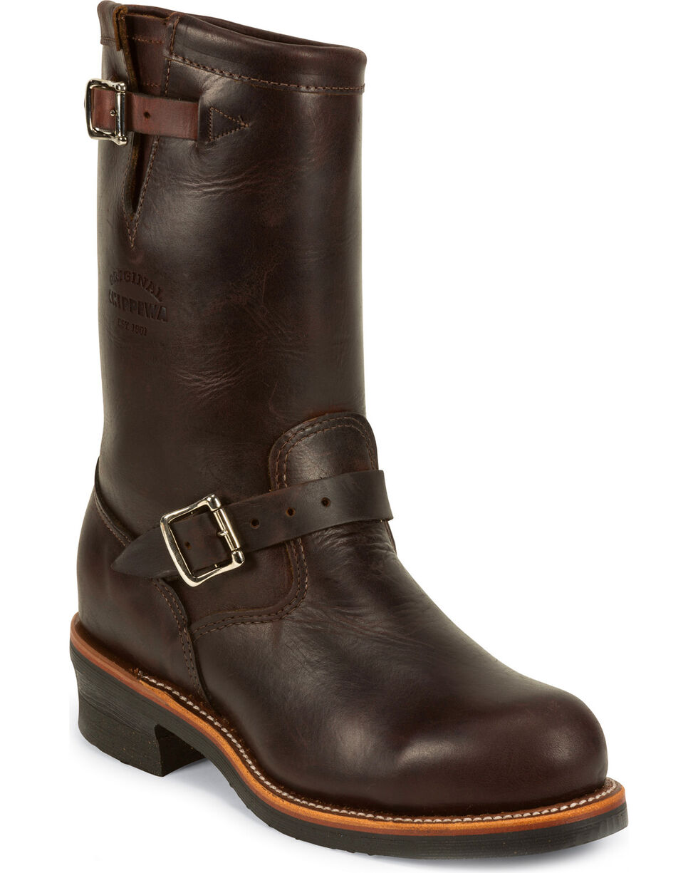 Chippewa Men's Cordovan Cognac Engineer Boots - Steel Toe, Cognac, hi-res