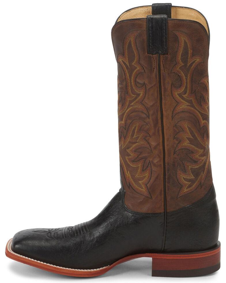 Justin Men's Smooth Ostrich AQHA Remuda Western Cowboy Boots - Square Toe, Black, hi-res