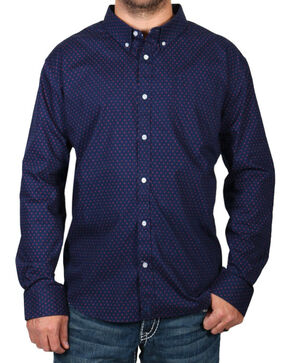 Cody James Men's Dot Patterned Long Sleeve Shirt - Big & Tall, Navy, hi-res