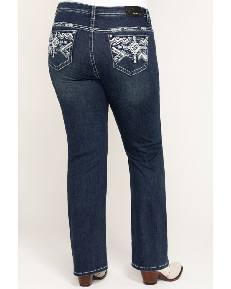 "Grace in LA Women's Dark Aztec 32"" Straight Jeans - Plus  , Blue, hi-res"