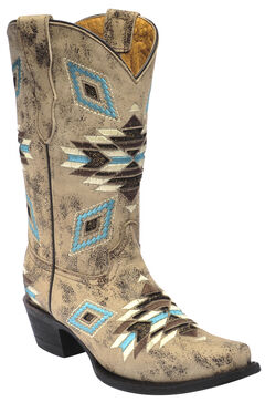 Corral Girls' Aztec Pattern Cowgirl Boots - Snip Toe, Brown, hi-res