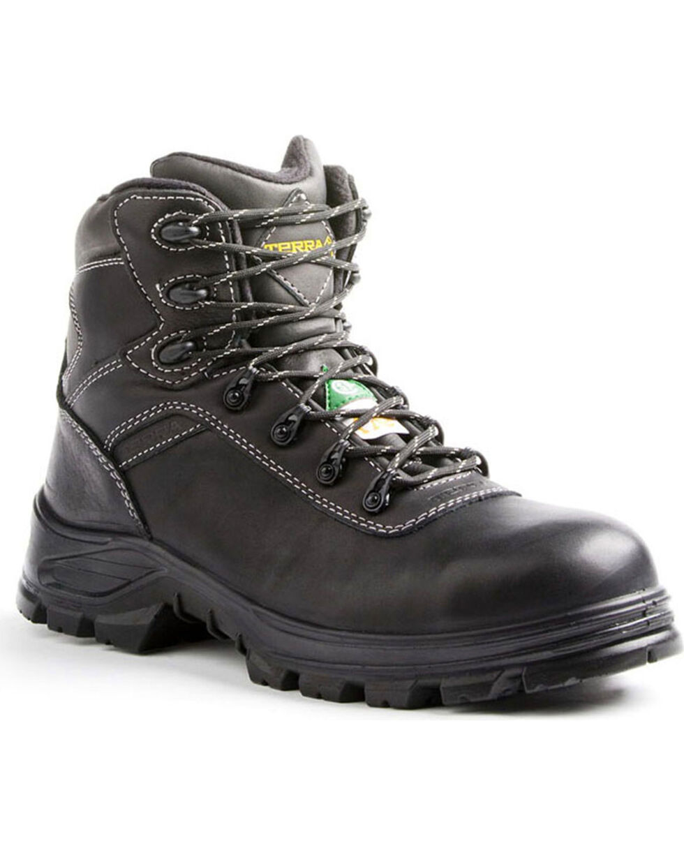 "Terra Men's Black 6"" Quinton Hiker Work Boots - Round Toe, Black, hi-res"