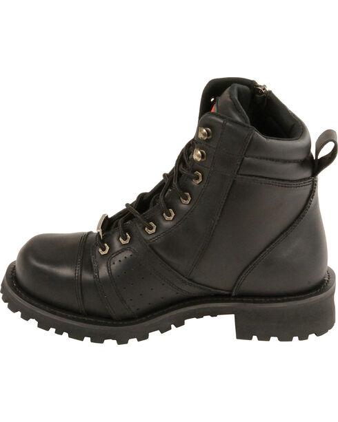 Milwaukee Leather Men's Lace To Toe Boots - Round Toe - Wide, Black, hi-res