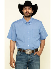 Cody James Core Men's Lone Star Geo Print Short Sleeve Western Shirt , Royal Blue, hi-res