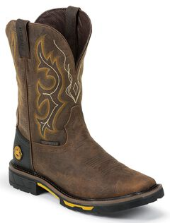 Justin Hybred Waterproof Pull-On Work Boots - Square Toe, Barnwood, hi-res