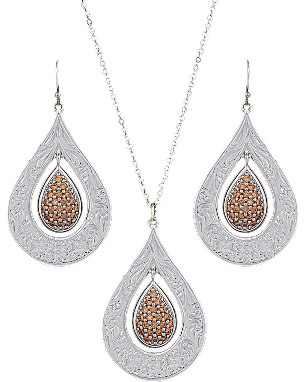 Montana Silversmiths Women's Flowers Champagne Spark Jewelry Set, Silver, hi-res