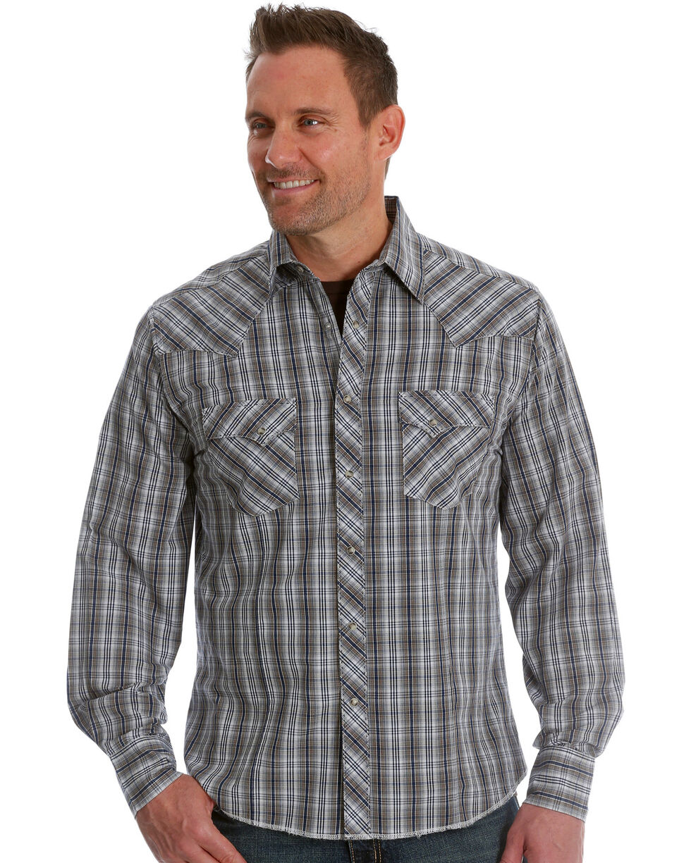 Wrangler Men's Navy/Brown Plaid Fashion Long Sleeve Snap Shirt, Blue, hi-res