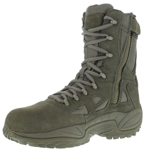 "Reebok Women's Stealth 8"" Lace-Up Black Side-Zip Work Boots - Composition Toe, Sage, hi-res"