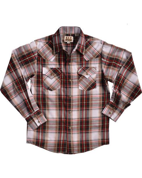 Ely Cattleman Boys' Textured Plaid Snap Shirt, White, hi-res