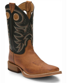 Justin Men's Bent Rail Cowboy Boots - Square Toe, Tobacco, hi-res