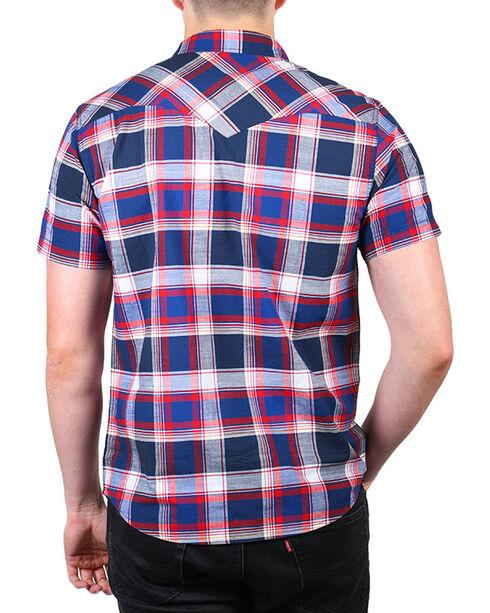 Levi's Men's Marcus Plaid Short Sleeve Shirt, Blue, hi-res