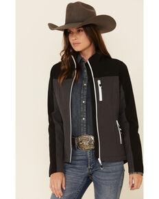 Roper Women's Black & Grey Softshell Bonded Fleece Lined Jacket , Black, hi-res