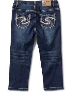 Silver Girls' Ali Skinny Capri Pants - 4-6X, Denim, hi-res