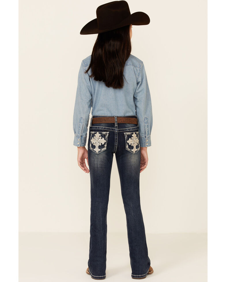 Grace In LA Girls' Medium Wash Embroidered Cross Pocket Straight Leg Jeans , Blue, hi-res