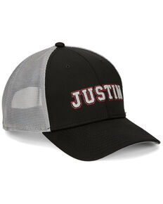 Justin Men's Black & White Embroidered Logo Mesh-Back Ball Cap, Black, hi-res