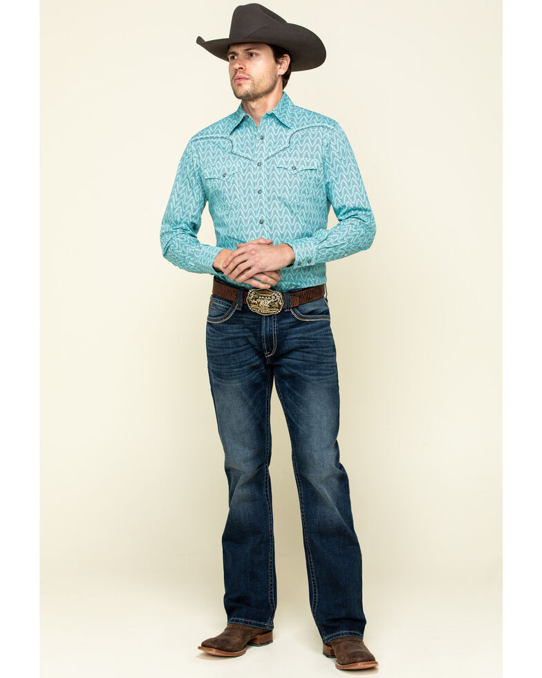Rock 47 By Wrangler Men's Turquoise Geo Print Embroidered Long Sleeve Western Shirt , Turquoise, hi-res