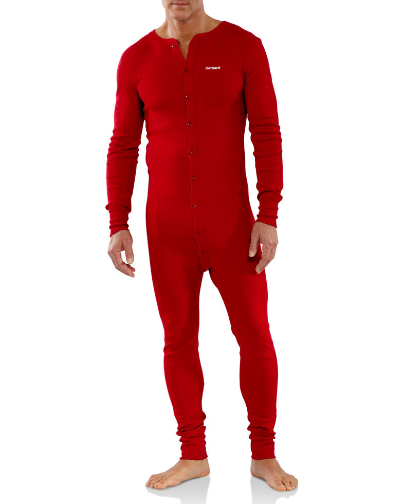 Carhartt Men's Red Midweight Cotton Union Suit - Big, Red, hi-res