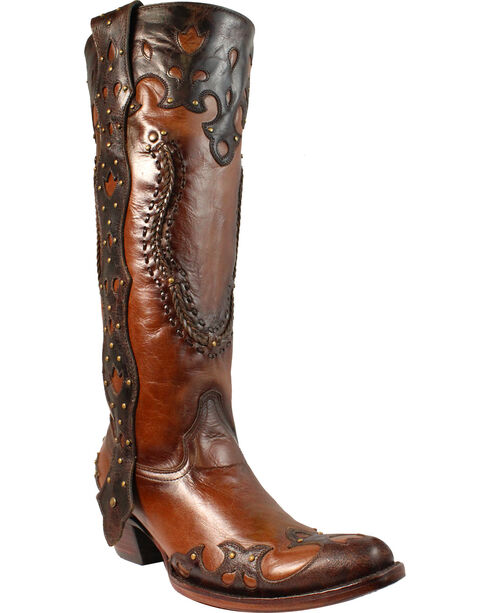 Corral Women's Studded Overlay Tall Boots - Medium Toe , Brown, hi-res