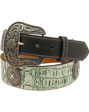 Nocona Women's Croc Print and Concho Belt , Turquoise, hi-res