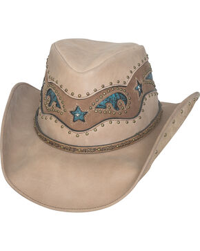 Bullhide Women's Worth It Leather Cowboy Hat , Khaki, hi-res