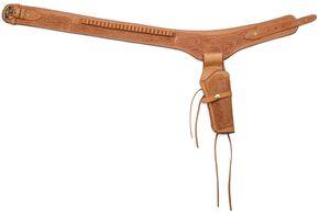 Western Express .38 Caliber Hand Tooled Leather Single-Gun Belt & Holster, Brown, hi-res