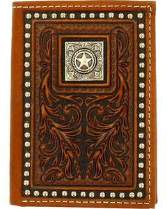 Nocona Men's Scrolling Tri-Fold Leather Wallet , Brown, hi-res