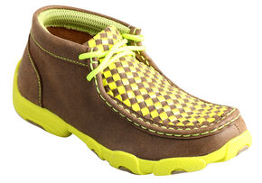 Twisted X Kids' Yellow Checkerboard Driving Mocs, Bomber, hi-res