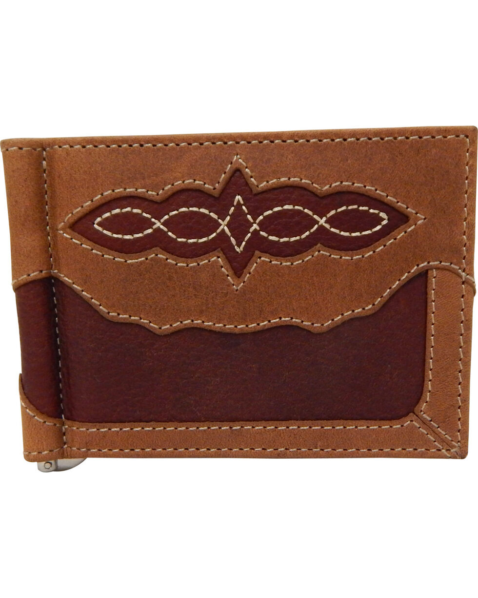 Roper Men's Pebble Grain Pocket Leather Wallet, Brown Multi, hi-res