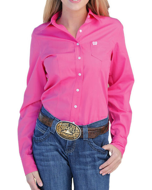 Cinch Women's Solid Pink Button Down Western Shirt, Pink, hi-res