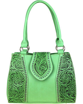 Montana West Trinity Ranch Tooled Leather Concealed Carry Satchel , Light/pastel Green, hi-res