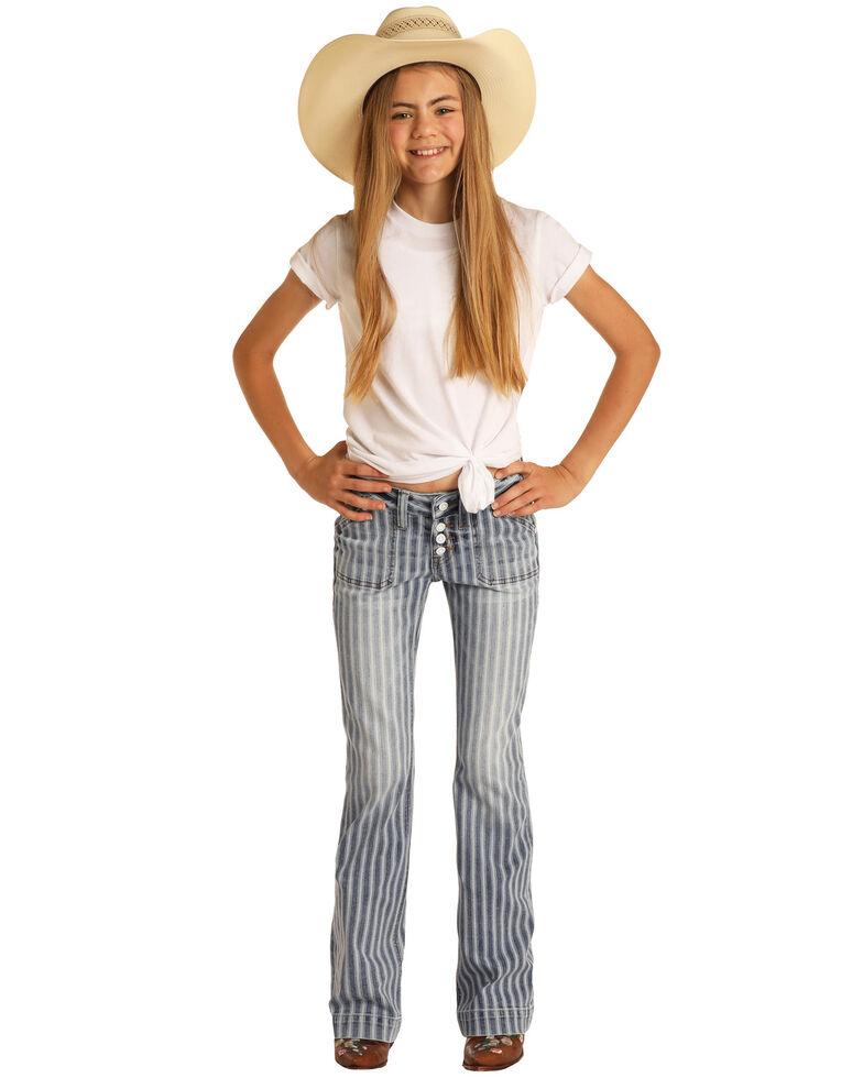 Rock & Roll Denim Girls' Blue Stripe Stretch Trouser Jeans , Blue, hi-res