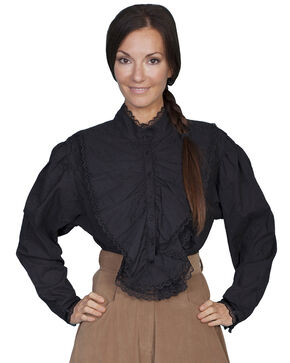 Rangewear by Scully Floral Embroidered Lace Long Sleeve Top, Black, hi-res