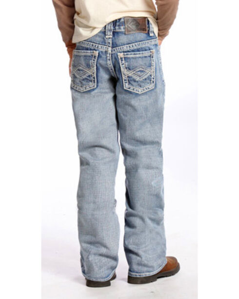 "Rock & Roll Cowboy Boys' BB Gun Light Wash Abstract ""A"" Jeans - Boot Cut , Indigo, hi-res"