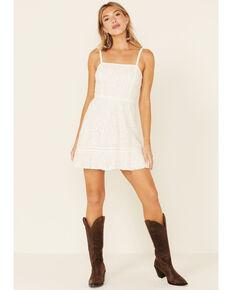 Beyond The Radar Women's Lace Smocked Back Dress, White, hi-res