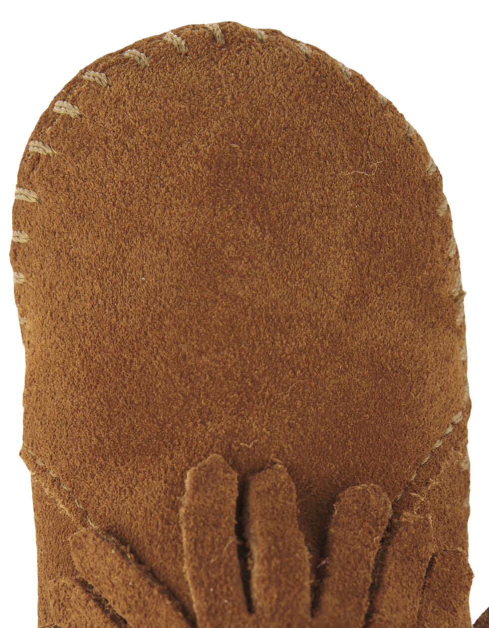 Minnetonka Infant Girls' Suede with Fringe Velcro Back Flap Bootie, Brown, hi-res