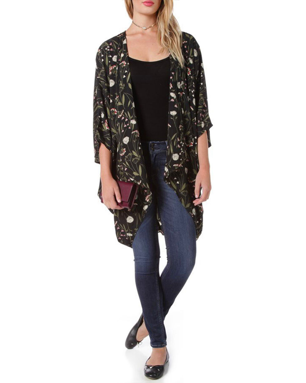 Miss Me Women's Black Floral Printed Kimono , Black, hi-res