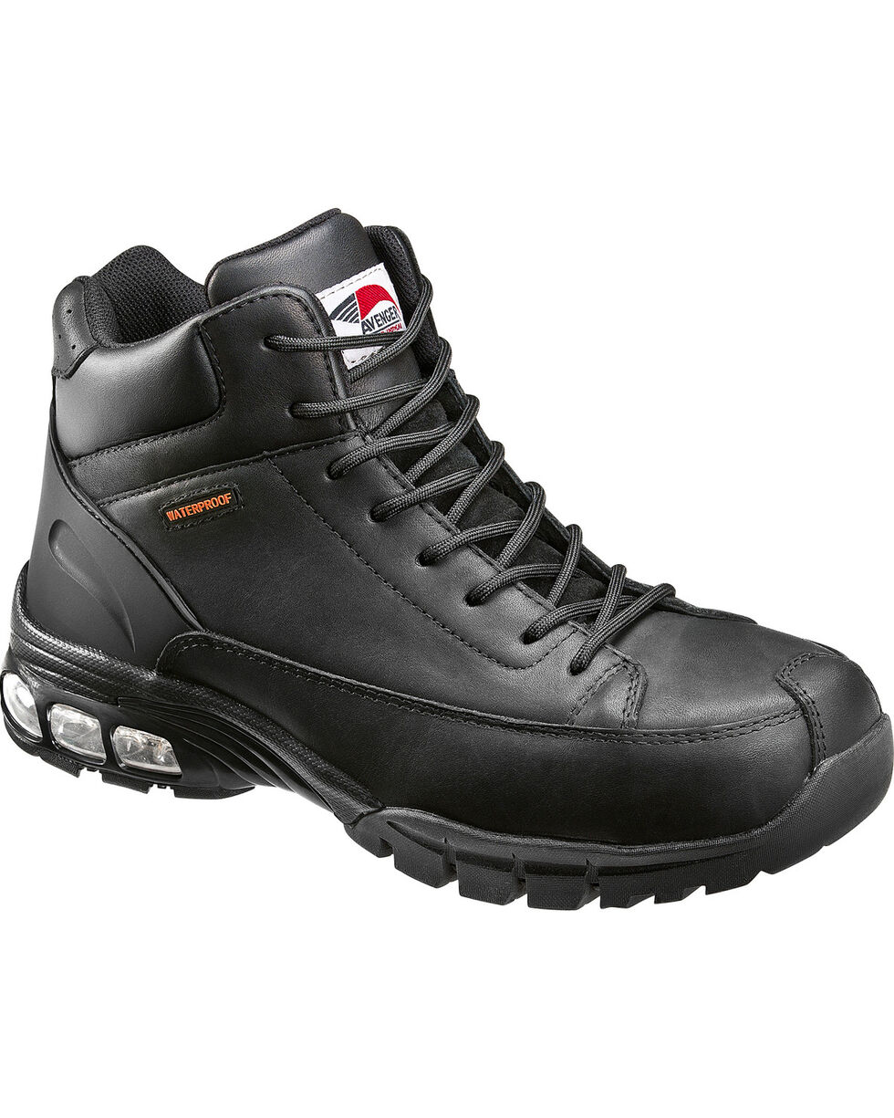 Avenger Men's Black Lace-Up Work Boots - Composite Toe, Black, hi-res