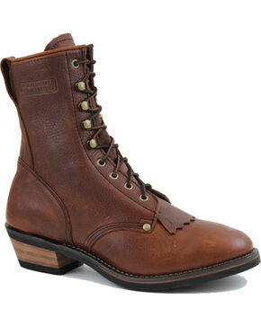 Ad Tec Men's Packer Western Work Boots - Round Toe, Brown, hi-res