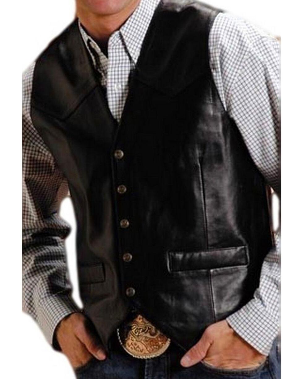 Roper Men's Leather Western Vest - Tall, Black, hi-res