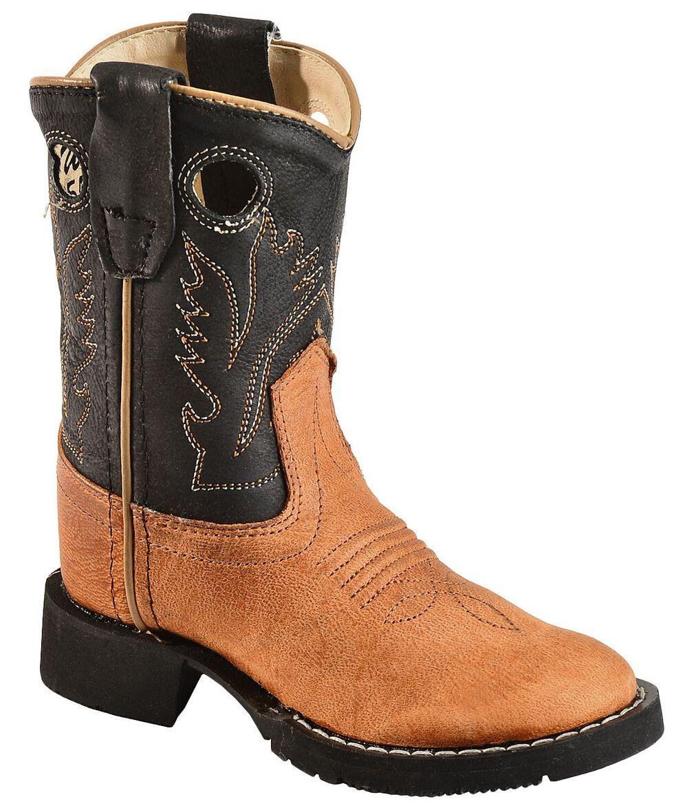 Old West Toddler Boys' Black Cowboy Boots - Round Toe, Tan, hi-res