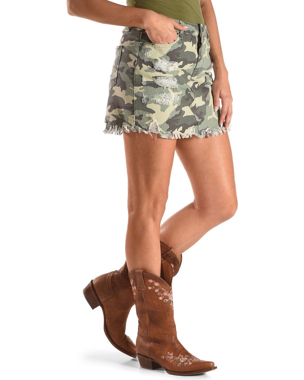 Tractr Blu Women's Camo Destructed Mini Skirt , Camouflage, hi-res