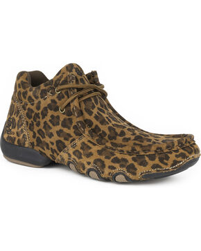 Roper Women's Leopard High Country Cassie Chukka Shoes , Brown, hi-res
