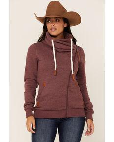 Wanakome Women's Asymmetrical Zip Hoodie, Burgundy, hi-res