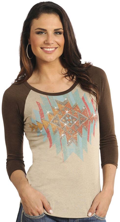 Rock and Roll Cowgirl Tan Aztec Baseball T-Shirt , Tan, hi-res