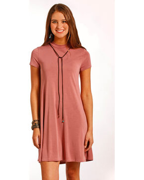 Panhandle Women's Cap Sleeve Modal Knit Flare Dress, Pink, hi-res