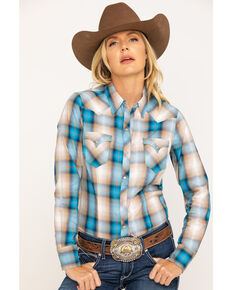 West Made Women's Blue & Yellow Plaid Long Sleeve Western Shirt , Blue, hi-res