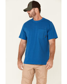 Hawx Men's Solid Blue Forge Short Sleeve Work Pocket T-Shirt , Blue, hi-res