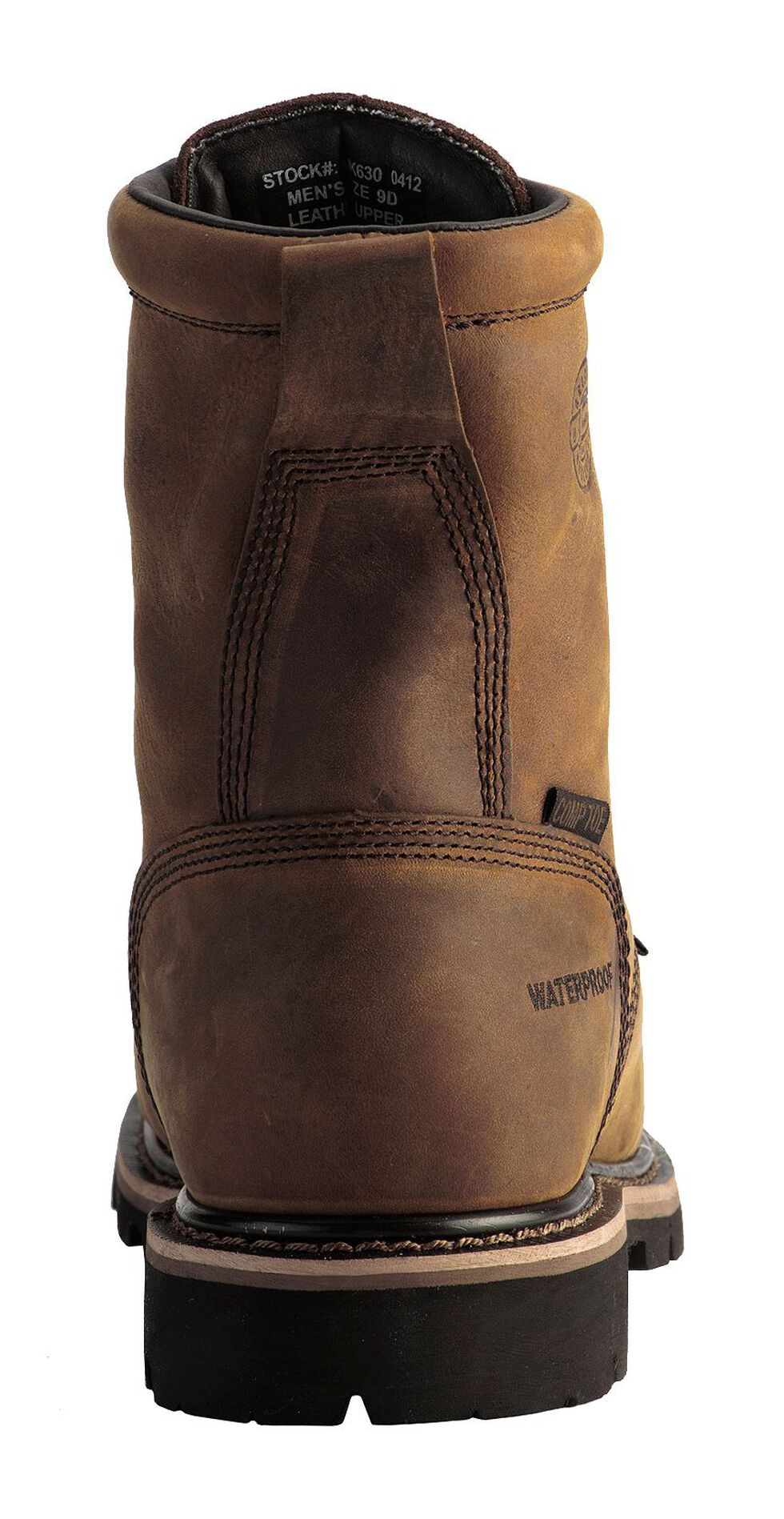 """Justin Men's Pulley Waterproof MetGuard 8"""" Lace-Up Work Boots - Composite Toe, Brown, hi-res"""